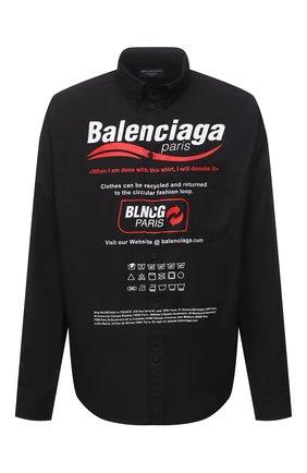 Мужская хлопковая рубашка BALENCIAGA черного цвета, арт. 664626/TEM16 | Фото 1 (Материал внешний: Хлопок; Рукава: Длинные; Длина (для топов): Стандартные; Принт: С принтом; Стили: Гранж; Случай: Повседневный; Манжеты: На пуговицах; Воротник: Button down)