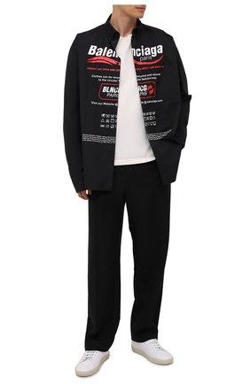 Мужская хлопковая рубашка BALENCIAGA черного цвета, арт. 664626/TEM16 | Фото 2 (Материал внешний: Хлопок; Рукава: Длинные; Длина (для топов): Стандартные; Принт: С принтом; Стили: Гранж; Случай: Повседневный; Манжеты: На пуговицах; Воротник: Button down)