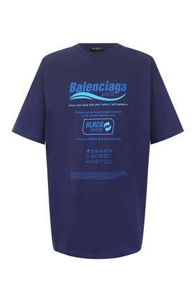 Мужская хлопковая футболка BALENCIAGA синего цвета, арт. 651795/TKVF8 | Фото 1 (Материал внешний: Хлопок; Длина (для топов): Удлиненные; Принт: С принтом; Рукава: Короткие; Стили: Гранж)