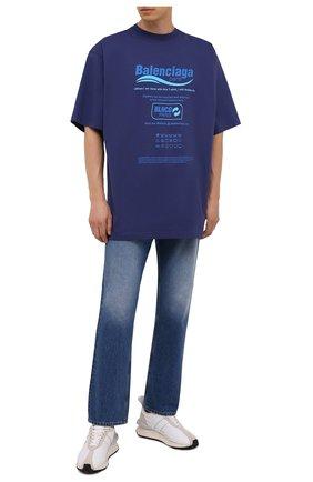 Мужская хлопковая футболка BALENCIAGA синего цвета, арт. 651795/TKVF8 | Фото 2 (Материал внешний: Хлопок; Длина (для топов): Удлиненные; Принт: С принтом; Рукава: Короткие; Стили: Гранж)