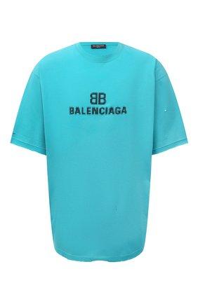 Мужская хлопковая футболка BALENCIAGA бирюзового цвета, арт. 651795/TKVF5 | Фото 1 (Материал внешний: Хлопок; Длина (для топов): Удлиненные; Принт: С принтом; Рукава: Короткие; Стили: Гранж)
