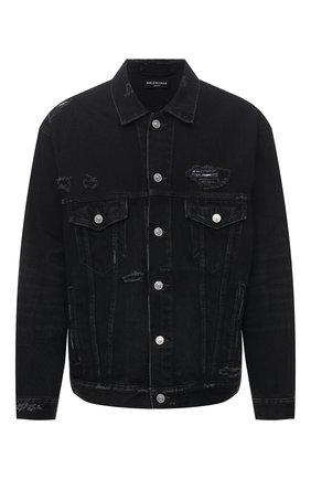 Мужская джинсовая куртка BALENCIAGA черного цвета, арт. 664329/TBP47 | Фото 1 (Длина (верхняя одежда): Короткие; Материал внешний: Хлопок; Рукава: Длинные; Кросс-КТ: Куртка, Деним; Стили: Гранж)