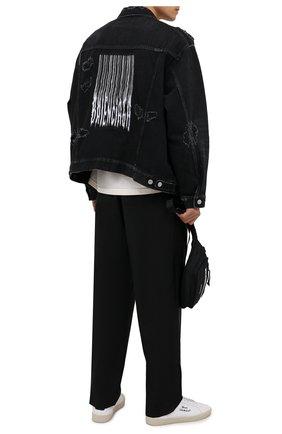 Мужская джинсовая куртка BALENCIAGA черного цвета, арт. 664329/TBP47 | Фото 2 (Длина (верхняя одежда): Короткие; Материал внешний: Хлопок; Рукава: Длинные; Кросс-КТ: Куртка, Деним; Стили: Гранж)