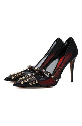 Женские кожаные туфли rockstud alcove VALENTINO черного цвета, арт. WW2S0CV9/TJZ | Фото 1