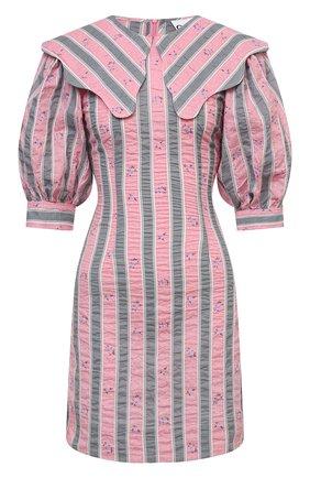 Женское хлопковое платье GANNI розового цвета, арт. F6002   Фото 1