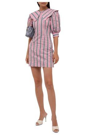Женское хлопковое платье GANNI розового цвета, арт. F6002   Фото 2