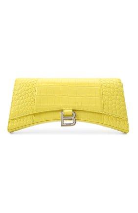 Женская сумка hourglass stretch BALENCIAGA желтого цвета, арт. 654942/1LR6Y | Фото 1 (Размер: medium; Материал: Натуральная кожа; Сумки-технические: Сумки через плечо)