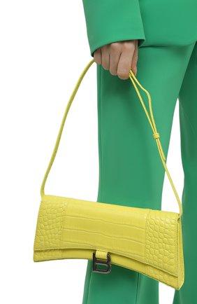 Женская сумка hourglass stretch BALENCIAGA желтого цвета, арт. 654942/1LR6Y | Фото 2 (Размер: medium; Материал: Натуральная кожа; Сумки-технические: Сумки через плечо)