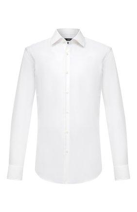 Мужская хлопковая сорочка BOSS белого цвета, арт. 50454001 | Фото 1 (Длина (для топов): Стандартные; Рукава: Длинные; Материал внешний: Хлопок; Случай: Формальный; Рубашки М: Regular Fit; Манжеты: На пуговицах; Принт: Однотонные; Воротник: Кент; Стили: Классический)