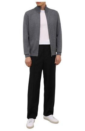 Мужской шерстяной кардиган BOSS серого цвета, арт. 50435350 | Фото 2 (Материал внешний: Шерсть; Длина (для топов): Стандартные; Рукава: Длинные; Мужское Кросс-КТ: Кардиган-одежда; Стили: Кэжуэл)