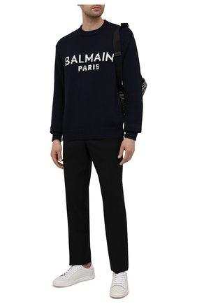 Мужской шерстяной свитер BALMAIN темно-синего цвета, арт. WH1KD000/K027 | Фото 2