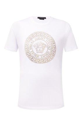 Мужская хлопковая футболка VERSACE белого цвета, арт. 1001619/1A01263 | Фото 1 (Материал внешний: Хлопок; Длина (для топов): Стандартные; Рукава: Короткие; Принт: С принтом; Стили: Кэжуэл)
