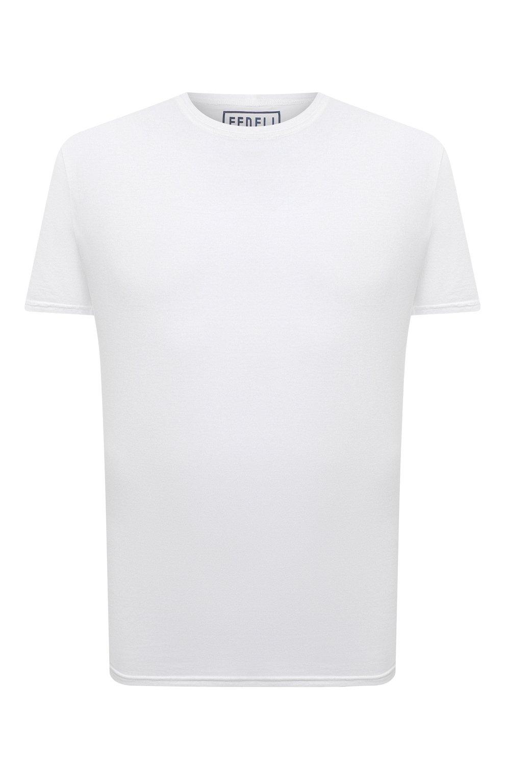 Мужская хлопковая футболка FEDELI белого цвета, арт. 4UEF0113 | Фото 1 (Принт: Без принта; Рукава: Короткие; Длина (для топов): Стандартные; Материал внешний: Хлопок; Стили: Кэжуэл)