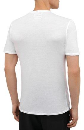 Мужская хлопковая футболка FEDELI белого цвета, арт. 4UEF0113 | Фото 4 (Принт: Без принта; Рукава: Короткие; Длина (для топов): Стандартные; Материал внешний: Хлопок; Стили: Кэжуэл)