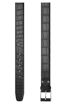 Мужской ремень из кожи крокодила со сменными пряжками ZILLI темно-синего цвета, арт. MJL-CLAQE-01010/C819/CP0R   Фото 2 (Случай: Формальный; Материал: Экзотическая кожа)