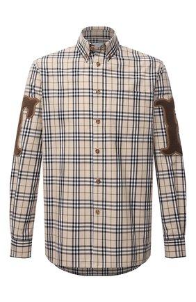 Мужская хлопковая рубашка BURBERRY бежевого цвета, арт. 8042350 | Фото 1