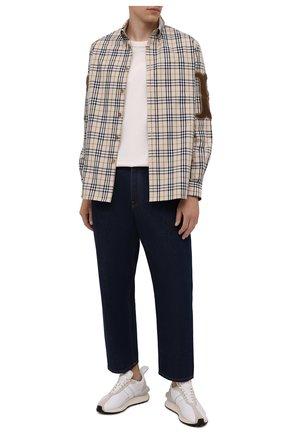 Мужская хлопковая рубашка BURBERRY бежевого цвета, арт. 8042350 | Фото 2