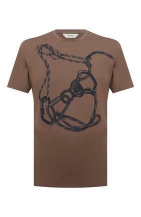Мужская хлопковая футболка Z ZEGNA коричневого цвета, арт. VY367/ZZ630P | Фото 1 (Длина (для топов): Стандартные; Материал внешний: Хлопок; Рукава: Короткие; Принт: С принтом; Стили: Кэжуэл)