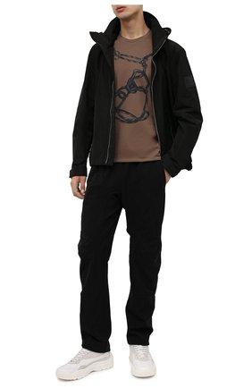 Мужская хлопковая футболка Z ZEGNA коричневого цвета, арт. VY367/ZZ630P | Фото 2 (Длина (для топов): Стандартные; Материал внешний: Хлопок; Рукава: Короткие; Принт: С принтом; Стили: Кэжуэл)