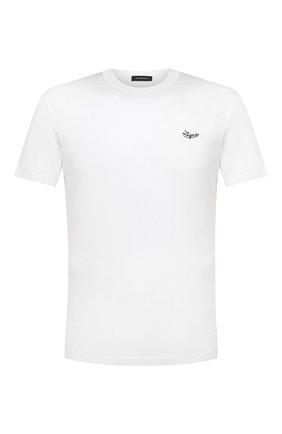 Мужская хлопковая футболка ERMENEGILDO ZEGNA белого цвета, арт. UY526/707R   Фото 1 (Материал внешний: Хлопок; Рукава: Короткие; Длина (для топов): Стандартные; Принт: Без принта; Стили: Кэжуэл)