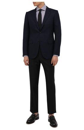 Мужской шерстяной пиджак ERMENEGILDO ZEGNA темно-синего цвета, арт. 252084/121220 | Фото 2 (Материал подклада: Купро; Длина (для топов): Стандартные; Материал внешний: Шерсть; Рукава: Длинные; Случай: Формальный; Пиджаки М: Приталенный; 1-2-бортные: Однобортные; Стили: Классический)