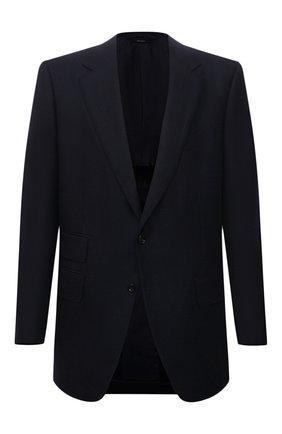 Мужской пиджак из шерсти и кашемира TOM FORD темно-синего цвета, арт. 228R01/15MA40 | Фото 1 (Материал внешний: Шерсть; Длина (для топов): Стандартные; Материал подклада: Купро, Шелк; Рукава: Длинные; Случай: Формальный; Пиджаки М: Приталенный; 1-2-бортные: Однобортные; Стили: Классический)