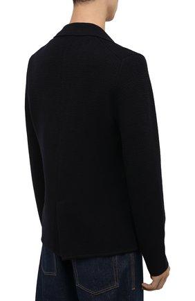 Мужской шерстяной пиджак EMPORIO ARMANI темно-синего цвета, арт. 6K1GY1/1MFDZ   Фото 4 (Материал внешний: Шерсть; Рукава: Длинные; Случай: Повседневный; Длина (для топов): Стандартные; Кросс-КТ: Трикотаж; 1-2-бортные: Однобортные; Пиджаки М: Прямой; Стили: Кэжуэл)