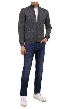 Мужской кашемировый кардиган FIORONI темно-серого цвета, арт. MK23012E1 | Фото 2 (Материал внешний: Кашемир, Шерсть; Рукава: Длинные; Длина (для топов): Стандартные; Мужское Кросс-КТ: Кардиган-одежда; Стили: Кэжуэл)