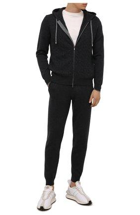 Мужские кашемировые джоггеры FIORONI темно-серого цвета, арт. MK23019F1 | Фото 2 (Длина (брюки, джинсы): Стандартные; Материал внешний: Кашемир, Шерсть; Силуэт М (брюки): Джоггеры; Мужское Кросс-КТ: Брюки-трикотаж; Кросс-КТ: Спорт; Стили: Спорт-шик)