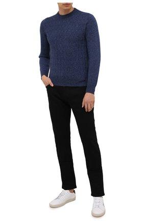 Мужской кашемировый свитер FIORONI синего цвета, арт. MK23020A1 | Фото 2 (Материал внешний: Шерсть, Кашемир; Длина (для топов): Стандартные; Рукава: Длинные; Мужское Кросс-КТ: Свитер-одежда; Принт: Без принта; Стили: Кэжуэл)