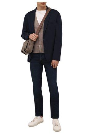 Мужской шерстяной кардиган TOM FORD бежевого цвета, арт. BYM94/TFK155 | Фото 2 (Длина (для топов): Стандартные; Рукава: Длинные; Материал внешний: Шерсть; Мужское Кросс-КТ: Кардиган-одежда; Стили: Кэжуэл)