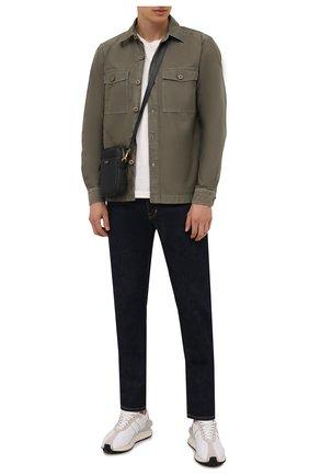 Мужская хлопковая рубашка TOM FORD хаки цвета, арт. 2FT830/94GGNW | Фото 2 (Материал внешний: Хлопок; Рукава: Длинные; Длина (для топов): Стандартные; Случай: Повседневный; Манжеты: На пуговицах; Принт: Однотонные; Воротник: Кент; Стили: Кэжуэл)