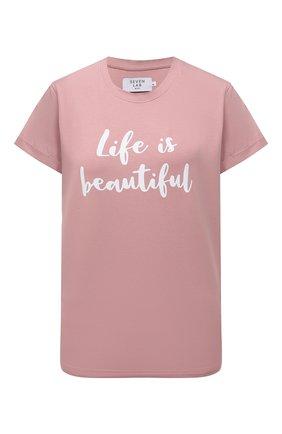 Женская хлопковая футболка SEVEN LAB розового цвета, арт. T20-LIB misty rose   Фото 1