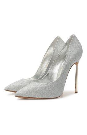 Женские текстильные туфли jolly blade CASADEI серебряного цвета, арт. 1F410D125MCITYL9700   Фото 1
