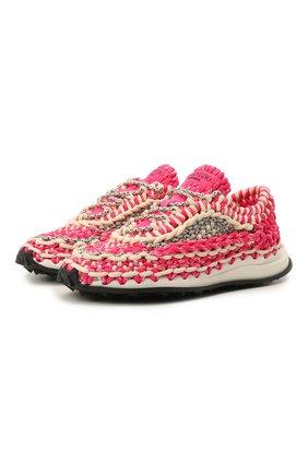 Женские текстильные кроссовки spiral knot VALENTINO розового цвета, арт. WW2S0BU6/IHE | Фото 1