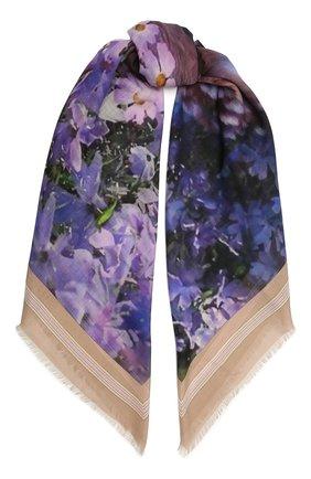 Женский платок из шелка и шерсти BURBERRY фиолетового цвета, арт. 8043165 | Фото 1