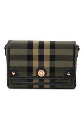 Женская сумка note medium BURBERRY хаки цвета, арт. 8043107 | Фото 1 (Размер: medium; Ремень/цепочка: На ремешке; Материал: Текстиль; Сумки-технические: Сумки через плечо)