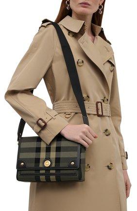 Женская сумка note medium BURBERRY хаки цвета, арт. 8043107 | Фото 2 (Размер: medium; Ремень/цепочка: На ремешке; Материал: Текстиль; Сумки-технические: Сумки через плечо)