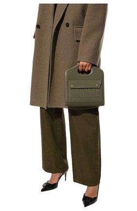 Женская сумка pocket bag mini BURBERRY хаки цвета, арт. 8042994 | Фото 2 (Материал: Текстиль; Ремень/цепочка: На ремешке; Размер: mini; Сумки-технические: Сумки top-handle)
