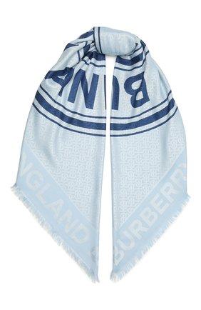 Женский платок из шелка и шерсти BURBERRY голубого цвета, арт. 8042210 | Фото 1