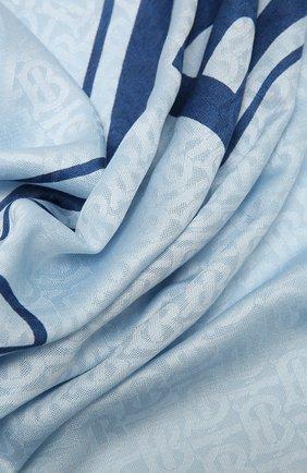 Женский платок из шелка и шерсти BURBERRY голубого цвета, арт. 8042210 | Фото 2