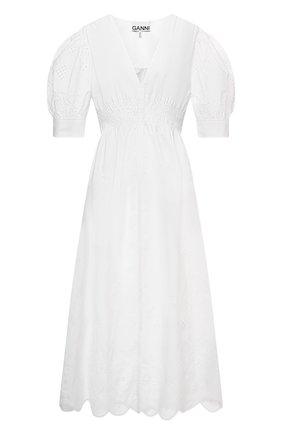 Женское хлопковое платье GANNI белого цвета, арт. F5989   Фото 1
