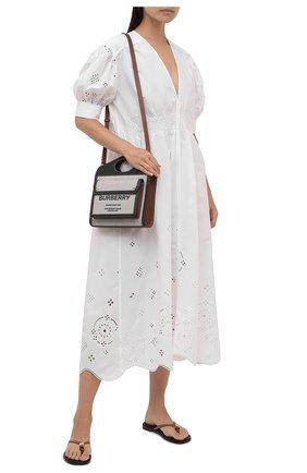 Женское хлопковое платье GANNI белого цвета, арт. F5989   Фото 2