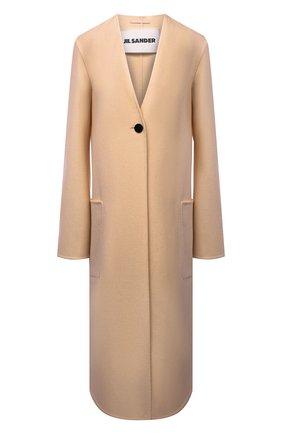 Женское кашемировое пальто JIL SANDER бежевого цвета, арт. JSPT120584-WT100903 | Фото 1 (Материал внешний: Кашемир, Шерсть; Длина (верхняя одежда): Длинные; Рукава: Длинные; Стили: Минимализм; 1-2-бортные: Однобортные)