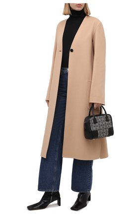 Женское кашемировое пальто JIL SANDER бежевого цвета, арт. JSPT120584-WT100903 | Фото 2 (Материал внешний: Кашемир, Шерсть; Длина (верхняя одежда): Длинные; Рукава: Длинные; Стили: Минимализм; 1-2-бортные: Однобортные)