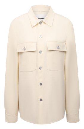 Женская шерстяная рубашка JIL SANDER кремвого цвета, арт. JPPT600105-WT212500 | Фото 1 (Материал подклада: Вискоза; Рукава: Длинные; Материал внешний: Шерсть; Длина (для топов): Удлиненные; Стили: Минимализм; Принт: Без принта; Женское Кросс-КТ: Рубашка-одежда)