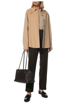 Женская кашемировая рубашка JIL SANDER бежевого цвета, арт. JSCT602885-WT100903 | Фото 2 (Длина (для топов): Удлиненные; Материал внешний: Шерсть, Кашемир; Рукава: Длинные; Стили: Минимализм; Принт: Без принта; Женское Кросс-КТ: Рубашка-одежда)