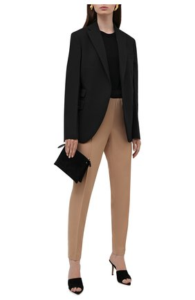 Женские шерстяные брюки JIL SANDER бежевого цвета, арт. JSPT310000-WT202500 | Фото 2 (Длина (брюки, джинсы): Стандартные; Материал внешний: Шерсть; Стили: Минимализм; Женское Кросс-КТ: Брюки-одежда; Силуэт Ж (брюки и джинсы): Узкие)