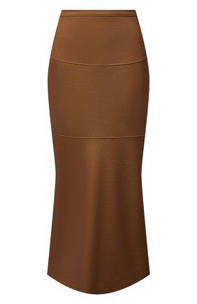 Женская шерстяная юбка JIL SANDER коричневого цвета, арт. JSPT720009-WT207908A | Фото 1 (Материал внешний: Шерсть; Длина Ж (юбки, платья, шорты): Миди; Стили: Минимализм; Женское Кросс-КТ: Юбка-одежда)