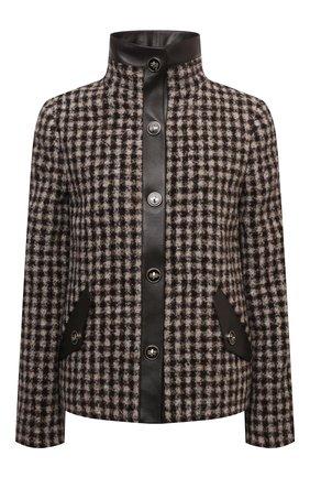 Женская шерстяная куртка GIORGIO ARMANI коричневого цвета, арт. 1WHGG0NJ/T02N2   Фото 1